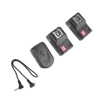 Wholesale flash shoe adapter - Universal 1pcs Transmitter+2pcs Receivers 16 Channel Wireless Remote Flash Trigger Hot Shoe Adapter Set For Shutter Release