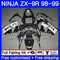 kawasaki ninja oeste venda por atacado-Corpo Para KAWASAKI NINJA ZX 9 R ZX900 ZX9 R Quadro Preto Oeste ZX9R 98 99 00 220HM.41 ZX 900 900CC ZX 9R 98 99 ZX-9R 1998 1999 2000 Kit de Carenagem