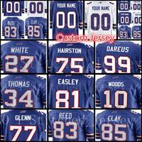 Wholesale bills throwback jersey - custom Buffalo Men Bill Jersey 27 Tre'Davious White 77 Cordy Glenn 85 Charles Clay 99 Dareus 10 McCarr 75 Hairston 70 Eric Wood Jerseys