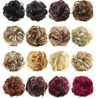 Wholesale mixed color rubber band - Synthetic Hair Chignon Donut Black Brown 45Colors 30g Bun Pad Chignon Elastic Hair Rope Rubber Band Hair Extensions Cheap hot sell