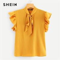 saçmalamak bluzlar toptan satış-SHEIN Hardal Zarif Ofis Lady Flounce Omuz Tied Boyun Çiçek Katı Fırfır Bluz 2018 Yaz Kadın Üstleri Ve Bluzlar