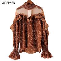 camisa de gasa de las señoras coreanas al por mayor-SuperAen Patchwork Perspectiva Malla Camisa Femenina 2018 Primavera Nuevo Estilo Coreano Dama Blusa Temperamento Moda Salvaje Chifón Camisa