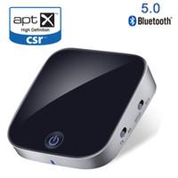 ingrosso bluetooth aux rca-Bluetooth V5.0 CSR Trasmettitore Ricevitore 2 in 1 Adattatore audio stereo wireless con ottica Toslink / SPDIF Aux 3.5mm Supporto aptx APT-