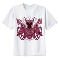 weiße t-shirts v hals männer großhandel-LEQEMAO Saint Seya t-shirt männer t-shirt mode t-shirt O Neck weiß T-shirts Für mann Top Tees MR1531