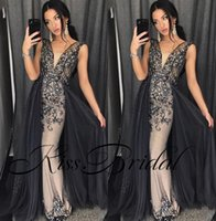 Wholesale dresses apple shape resale online - Luxury Bling Prom Dresses Crystal Beading Overskirts Formal Evening Gowns Dubai African Gowns With V Neck Sheath Body Shape