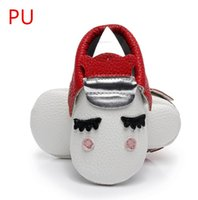 Wholesale Red Moccasin Boots - PU Leather Unique style newborn baby moccasins toddler baby christmas gifts party shoes Blush golden angle Unicorn Baby boot