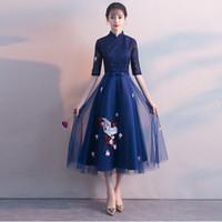 ingrosso abito blu orientale-Fashion Blue Lace Cheongsam Long Modern Qipao Dress Abiti tradizionali cinesi-abiti cinesi Vestido Oriental Chinees Jurkje