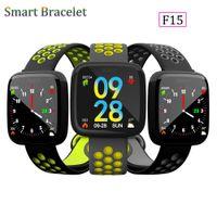termómetros para niños al por mayor-Nueva Moda F15 Pulsera Inteligente Reloj Band rastreador de fitness Presión Arterial Monitor de Ritmo Cardíaco Termómetro Podómetro Wristband para Android IOS