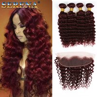 Wholesale 99J Deep Wave Hair With Lace Frontal Brazilian Virgin Hair Deep Wave Curly j Wine Red Hair Bundles With x4 Frontal Burgundy Colored