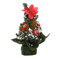 Wholesale indoor artificial trees - Mini Artificial Christmas Tree Indoors Decorations Small Pine Tree Holiday New Year Festival Party Ormament Decorations
