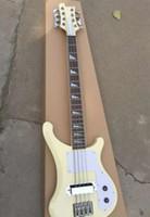 клен электрогитара корпус оптовых-Пользовательские 8 строк RIC 4003 S8 клен glo 1992 крем белый электрическая бас-гитара треугольник MOP накладка Накладка, строка через тело мост
