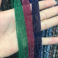 gemas de safira azuis venda por atacado-2mm Natural Rubi Safira Esmeralda Pedra Beads Facetada Vermelho Azul Verde Gem Stone Beads Para Colar de Jóias DIY Pulseira Fazendo