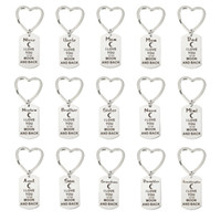 Wholesale Dad Mum Granddaughter Son Grandson Daughter Aunt I Love You To The Moon And Back Stainless Steel Keychain Keyring Birthday Gifts