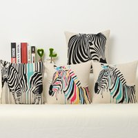 Wholesale Zebra Home Decor - Black Stripes Colorful Elegant Zebra Beauty Arts Gift Emoji Pillow Cover Massager Decorative Pillows Home Decor Gift