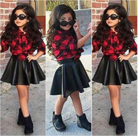 Wholesale European Suit Skirt - Spring 2016 Fashion 2Pcs Set Girls Kids Princess Plaid Tops Shirt +Leather Skirt Summer Outfits Clothes fashion style hot selling TOP suits