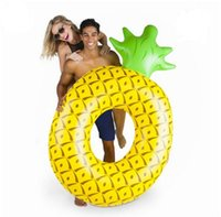 Wholesale large inflatable animals - High Quality Inflatable Big Pineapple Float Toys180cm Swimming Ring Circle Party Decoration Beach Water Party Toy DHL Free Shipping