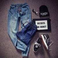 skinny jeans koreanischen stil männer großhandel-Midweight Mountainskin New Korean Style Herren Jeans Distrressed Jogger Jeans Schmal geschnittene Jeanshose Skinny Stretch Elastic Jeans