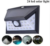 Wholesale yard glasses - Free Shipping Bright Wide Angle Sensor Solar Lights Outdoor 24 leds Security Waterproof Wall Lights for Garage Patio Garden Driveway Yard