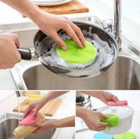 ingrosso pulizia magica della spazzola-8 colori Magic Dish in silicone Ciotola per la pulizia Scovolini Pad Pot Pan Wash Brush Cleaner Kitchen Accessories