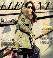 армия длинное пальто розовый оптовых-Мех с капюшоном вниз пальто армия зеленый розовый синий черный красный длинная зима вниз куртка женщин куртка большой реальный Енот мех с капюшоном толстые пальто