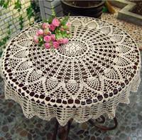 crochê de mesa artesanal venda por atacado-Artesanal Crochet Coasters Algodão Lace Cup Mat Placemat 70/80/90 CM RD Gasto Chique Do Vintage DIY Crocheted Toalha De Mesa