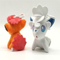 Wholesale vulpix plush - Cartoon Alola Vulpix Doll Lovely Stuffed Animals Soft Toy Pendant Classic Anime Figures Model Birthday Gift For Children 7km YY