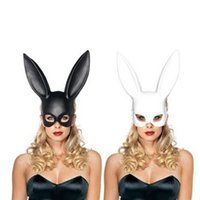 Wholesale carnival rabbit costumes - Party Masquerade Rabbit Masks Sexy Bunny Long Ears Carnival Cosplay Party Costume Black White Mask Halloween Xmas Decoration