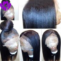 yapışkan olmayan tam dantelli peruk sarışınları toptan satış-Toptan Doğal Siyah / kahverengi / sarışın yaki Düz Sentetik Peruk Isıya Dayanıklı Tutkalsız Dantel Ön Siyah Kadınlar için Tam Dantel Peruk