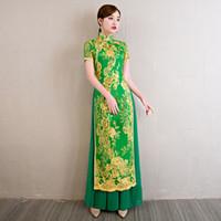 motifs de broderie modernes achat en gros de-Robes de mariée chinoises modernes Qipao Cheongsam Design Robe de soirée classique Robes de broderie Robe orientale Plus la taille 4XL