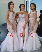 robes de sirène pour mariage achat en gros de-Robes De Demoiselle D'honneur De Sirène 2017 Nouvelle Longueur De Plancher Sans Manches Dentelle Applique Robes De Soirée De Mariage