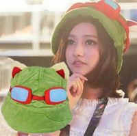 Wholesale teemo cosplay online - Hot Selling Retail League of Legends cosplay cap Hat Teemo hat Plush Cotton LOL plush toys Hats