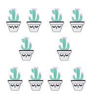 ingrosso zone del ricamo per i vestiti dei capretti-Sew Embroidery Plants Patches for Clothing Iron on Applique Patch fumetto patch per accessori giacca bambino Funny Cactus 10 PCS