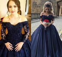 boy korse balo elbisesi toptan satış-Lacivert Quinceanera Balo Elbiseler Kapalı Omuz 3D Çiçek Dantel Aplike Sweep Tren Saten Korse Artı Boyutu Balo Abiye giyim giymek