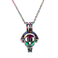 Wholesale robot steel resale online - C602 Rainbow Color lovely Robot Earphone Beads Cage Pendant Essential Oil Diffuser Aromatherapy Pearl Cage Locket Pendant Necklace