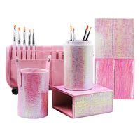 kalem kutuları toptan satış-Yeni Mermaid Manyetik Boş Taşınabilir Makyaj Fırça Yuvarlak Kare Kalem Tutucu Kozmetik Aracı Fırça Konteynerler Kalem Kutusu
