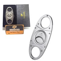 Wholesale Wholesale Cigar Cutters - COHIBA Fashion High-Grade Portable Silver Stainless Steel Cigar Cutter Guillotine Double Cut Blade in Black Gift Box Smoke Knife