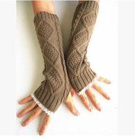 calentadores de brazo de damas al por mayor-Guantes de encaje guantes de punto de punto para mujer Womens Fingerless Knit Gloves Wrist winter ladies calentadores de brazo largo sin dedo guantes