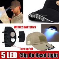 ingrosso fari di luce neri-Resistente 5 LED Cap Hat Brim Clip Luce bianca da campeggio Pesca Black Headlamp Tool ha condotto il tappo del faro BBA263