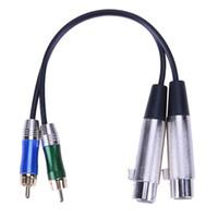 conector xlr de alta calidad al por mayor-Alta calidad 30CM 3pin 2 XLR hembra a 2 RCA Cable de audio macho XLR niquelado Cable de adaptador de conector de metal enchapado en oro RCA