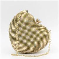 herzform abendtaschen großhandel-Lady Heart-Shape-Netzgewebe Strass-verkrustete Abend Abendessen Handtasche