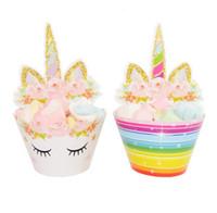cupcake kuchen cartoons großhandel-24 teile / satz Topper Cartoon Regenbogen Einhorn Cupcake Kuchen Backen Cup Wrapper Hochzeit Geburtstag Partydekorationen Werkzeuge GGA662 30 sets