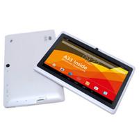 pulgadas android allwinner tablet pc blanco al por mayor-Glavey 7 pulgadas quad core 1GB + 8GB Android 4.4 Allwinner A33 sensor blanco tablet pc Dual cámara WIFI 1024 x 600 2800mAh