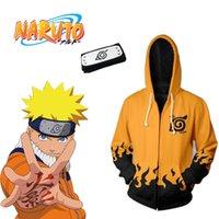 ingrosso fasce asiatiche-Asian Size Japan Anime Naruto Giallo Halloween 3D Zipper Cosplay Unisex Costume giacca ampia felpa con cappuccio manica lunga