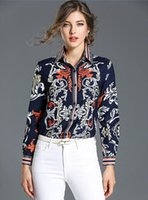 Wholesale ladies office wear blouses - Women Blouses Shirts Fashion EleButtons Runway Design Luxury Brand Floral Print Long Sleeve Ladies Tops Office Work Wear