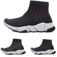 Wholesale Knitted Infant Shoes - New Kids Sock Speed Runner Knitted Trainers Mid High Infant Running shoes Black Red White Sneaker Children sports shoes girls boys shoes