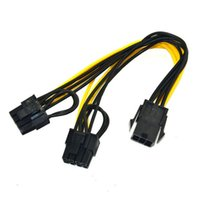 Wholesale y adapter gold - Free Shipping 6pin to dual 8pin(6+2) Y Splitter Adapter Connector graphics card power cable made of 18AWG wire LX2301