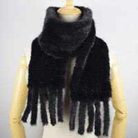 Wholesale mink scarfs - Hand Knitted Mink Hair Scarf Genuine Mink Hair Neck Warmer for Women Fashion Real Fur Scarf with Fringes