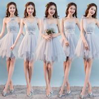 vestidos de color rosa champaña al por mayor-Dulce memoria, gris corto, vestidos de dama de honor, novia, hermana, invitados, escenario, champán, rosa, vestido de dama de honor SW0013