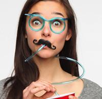 vasos de agua de plástico al por mayor-Bebida creativa Gafas de paja Barba Plástico Paja Loco Divertido Tubería de agua Decoraciones navideñas Proveedor