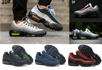 Wholesale Neon Green Laces - 2017 New Men's women Cheap Mens air sports 95 Racer running shoes Premium OG Neon Cool Grey sporting shoes sneakers size 36-45